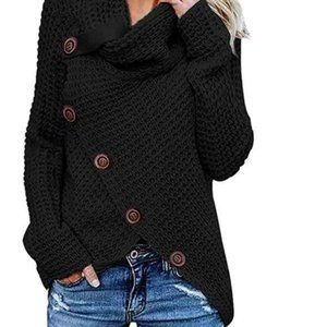Long Sleve High Collar Pullover Black Sweater S